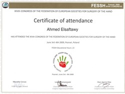 Certyfikat uczestnictwa dr A.Elsaftawy'ego w XIV Congress of The Federation of European Societies for Surgery of the Hand