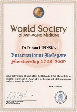 international Delegate - World Society of Anti-Aging Medicine 2008-2009